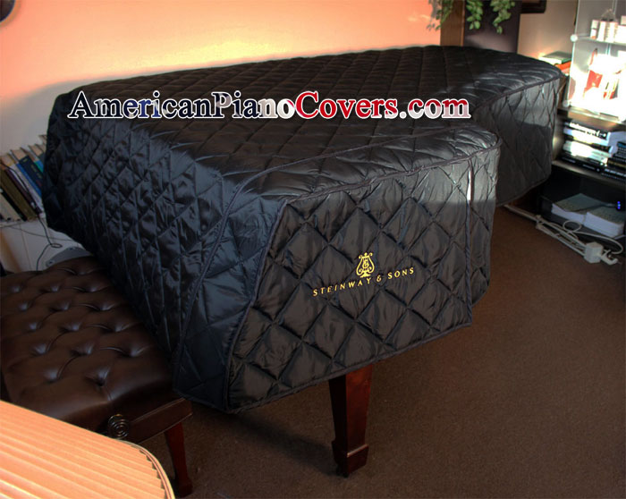 steinway grand piano cover black quilted